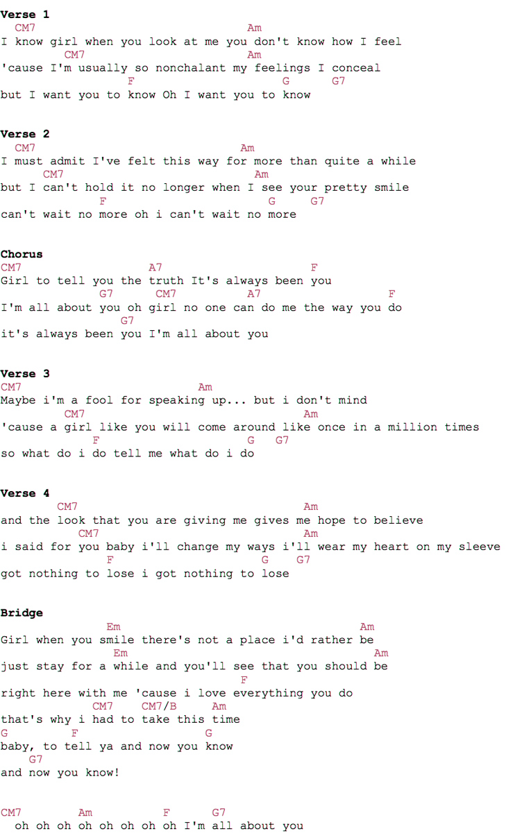 Bruno Mars All About You Guitar Chords