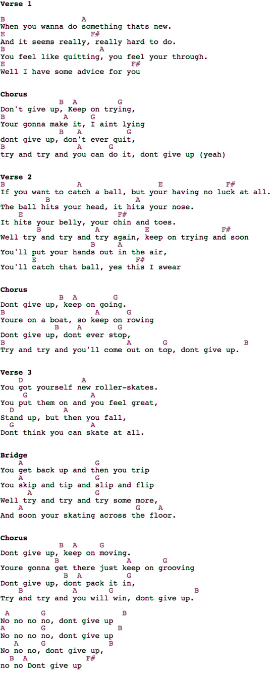 Bruno Mars – Don\'t Give Up Guitar Chords